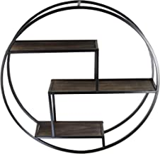 Admired By Nature Round Wall-Mounted Iron Hanging Storage Floating Shelves, Black