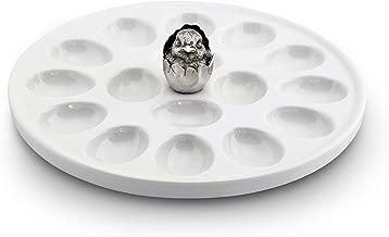 """Vagabond House Little Chick Stoneware and Pewter Deviled Egg Holder/Server; 10"""" Diameter"""