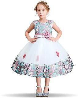 c0af6ee8fa4d3 NNJXD Fille Fleur Bowknot Baptême De Demoiselle d honneur De Mariage Robe  De Fête 0