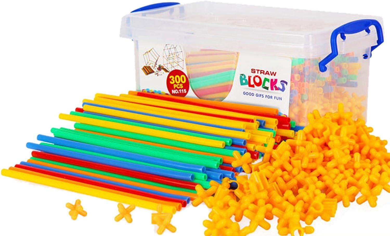 Liveinu 400 PCs Building Bricks Toys Set Plastic Straws & Connectors with Container Kit