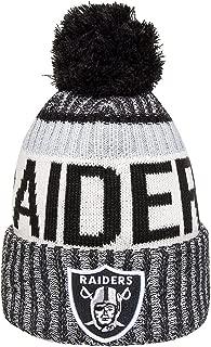 New Era Knit Oakland Raiders Silver On Field Sideline Sport Knit Winter Stocking Beanie Pom Hat Cap 2015