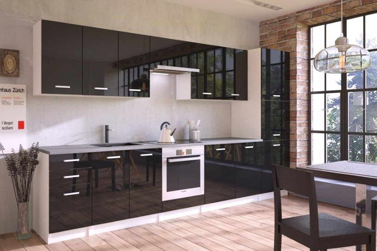Mueble alto de cocina Design 60 cm para campana con 1 puerta horizontal negra blanco mate y negro lacado: Amazon.es: Hogar