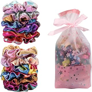 Ondder 12 Pcs Neon Scrunchies Shiny Metallic Scrunchies with Gift Bag, Gymnastic Women Mermaid Hair Scrunchies Bobbles Elastic Hair Ties Bands for Gym Dance Party Club, Set of 12 Multicolored