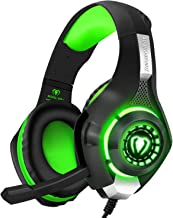 BlueFire Stereo Gaming Headset for Playstation 4 PS4 Over-Ear Headphones with Mic and LED Lights for Xbox One, PC, Laptop(Green)