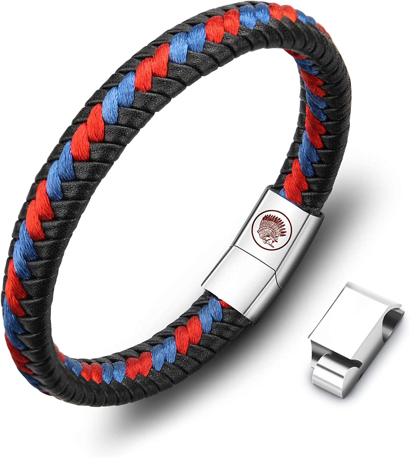 Casisto.J Max 49% OFF Leather Bracelet Outlet sale feature for Men Clasp Magnetic Cowhide Steel