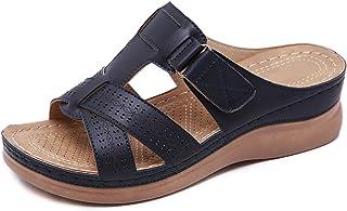 CELANDA Punta Abierta Sandalias de Cuña Zapatillas de Plataformas Cuero Zapato de Playa Suaves Ligeras Mules de Verano A01...