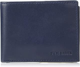 Steve Madden Men's Leather RFID Blocking Wallet with Extra Capacity ID Window, Navy, One Size