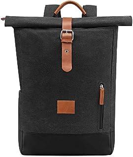Neuleben Vintage Kurierrucksack Rucksack Roll Top Rucksäcke Daypack Backpack Canvas Damen Herren Dunkelgrau