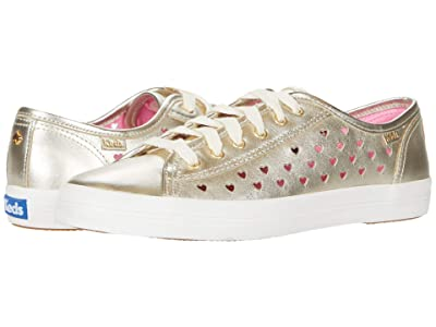 Keds x kate spade new york Kickstart Heart Perf (Light Gold Metallic Leather) Women