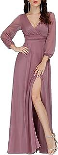 Ever-Pretty Vestiti da Cerimonia Donna Elegante Manica Lunga Scollo a V Abiti da Sera Stile Impero Brillantini 00739