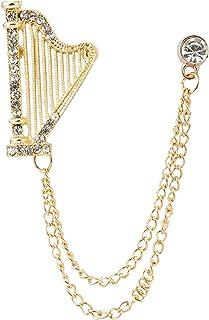 Knighthood Men's Rhinestone Harp with Hanging Chain Tassel Badge Suit Collar Brooch