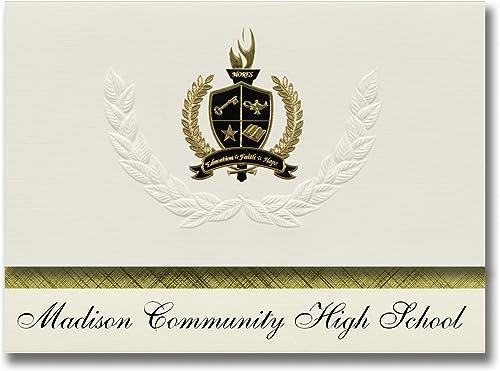 Signature Announcements Madison Community, High School (Madison, CA) Abschlussankündigungen, Pr dential-Stil, Gründpaket mit 25 Goldfarbenen und Schwarzn metallischen Folienversiegelungen