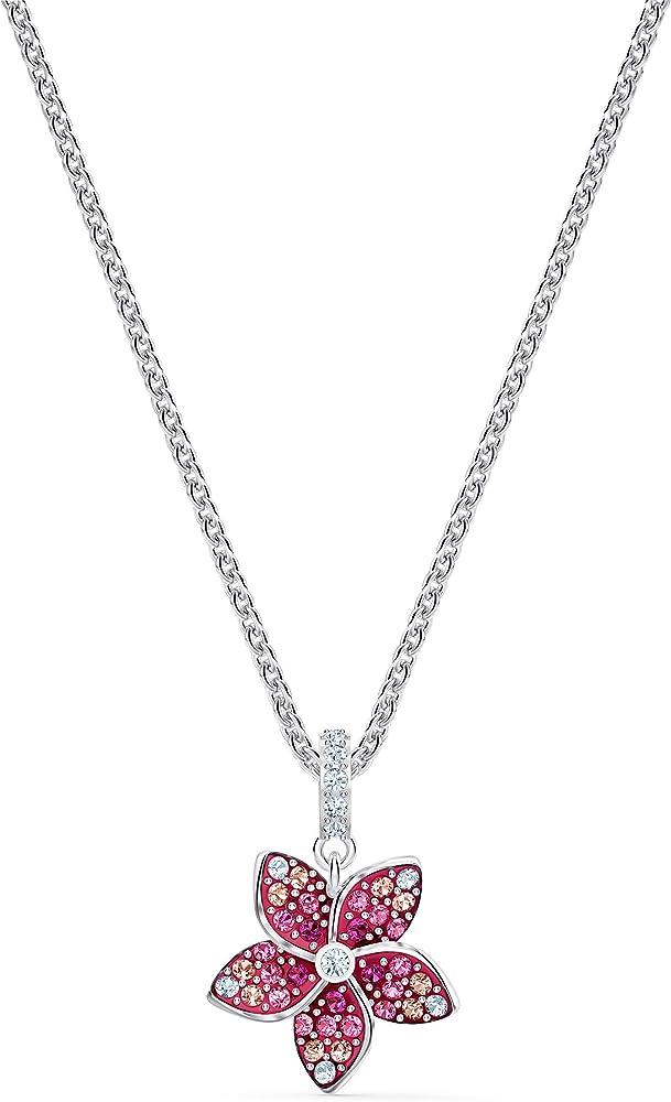 Swarovski tropical flower collana per donna pendente rosa placcato rodio 5519248