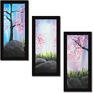 Paper Plane Design Set of 3 Wall Painting with Frames Floral Painting Wall Art Hanging