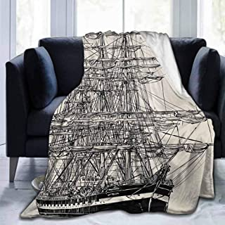 dsdsgog Soft Bed Blanket Pirate Ship,Sailing Boat Detailed Illustration Nautical Maritime Theme Vintage Style Art,Cream Black,70