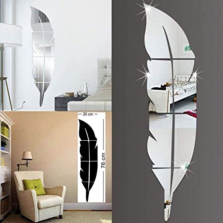 Wall1ders - Plume Feather Silver 3D Mirror Stickers for Wall Large Size, 3D Wall Mirror Sticker, Mirror Wall Stickers for Living Room, Hall, Bed Room & Home. (Silver)