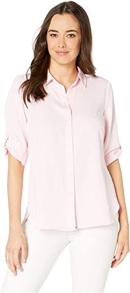 Solid Blousing Ideal 3/4 Tab Up Sleeve Blouse