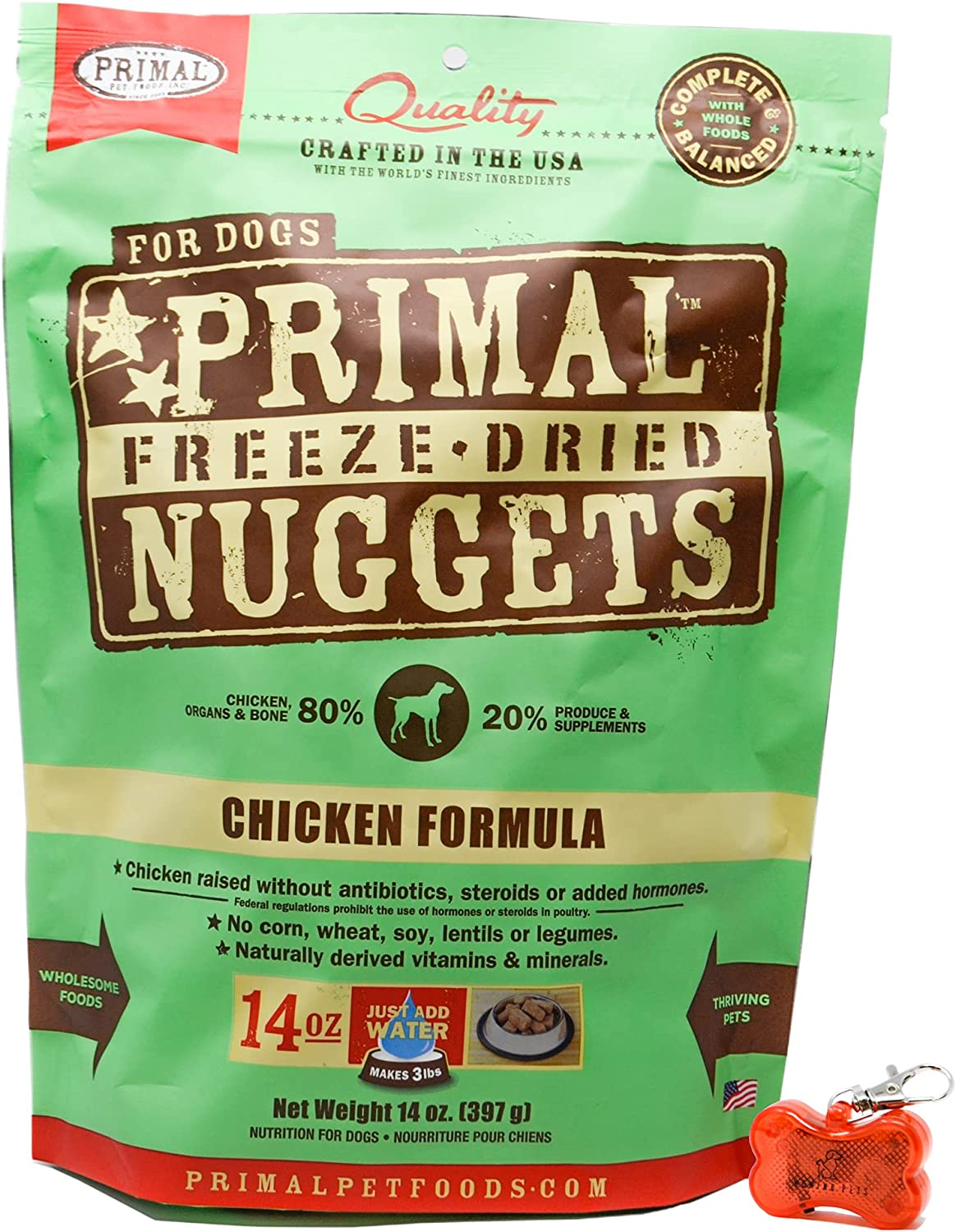 Primal Pet Food - Freeze Dried Chicken Nuggets Dog Food 14oz Bag with WoWing Pets Pendant