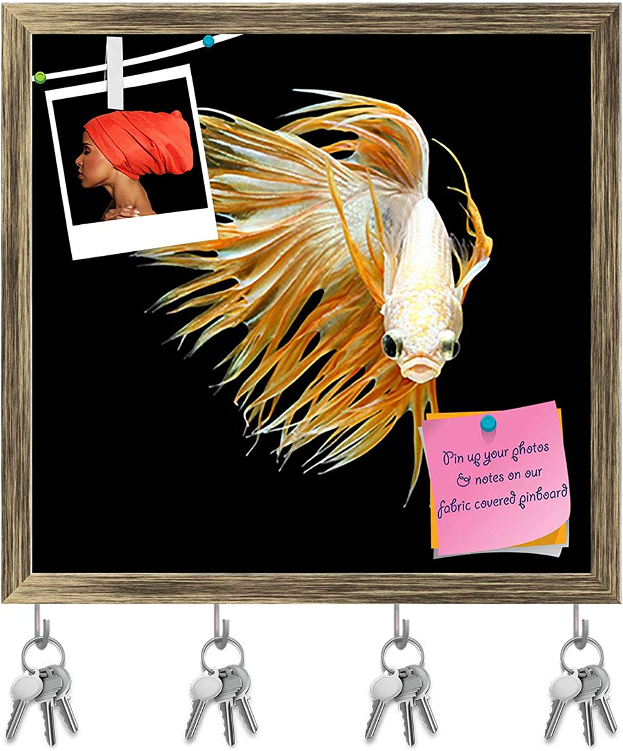 Artzfolio Betta Fish D5 Key Holder Hooks   Notice Pin Board   Antique golden Frame 16.6 X 16Inch