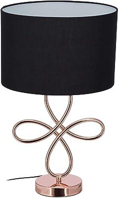Relaxdays Lampe de Table Socle Design Rose Or Métal Lampe de Chevet Abat-Jour Noir Tissu Hxd: 50 x 30 cm, Noir/Rose-Doré