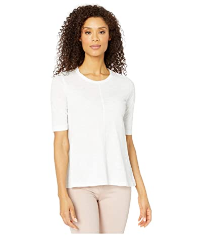 Mod-o-doc Slub Jersey Elbow Sleeve Swingy Tee (White) Women