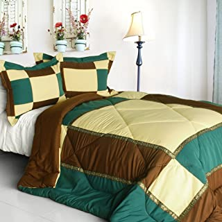 [Elegant Art] Quilted Patchwork Down Alternative Comforter Set (Twin Size)
