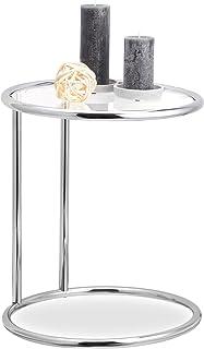 Relaxdays, srebrny okrągły stolik pomocniczy, metalowy ste