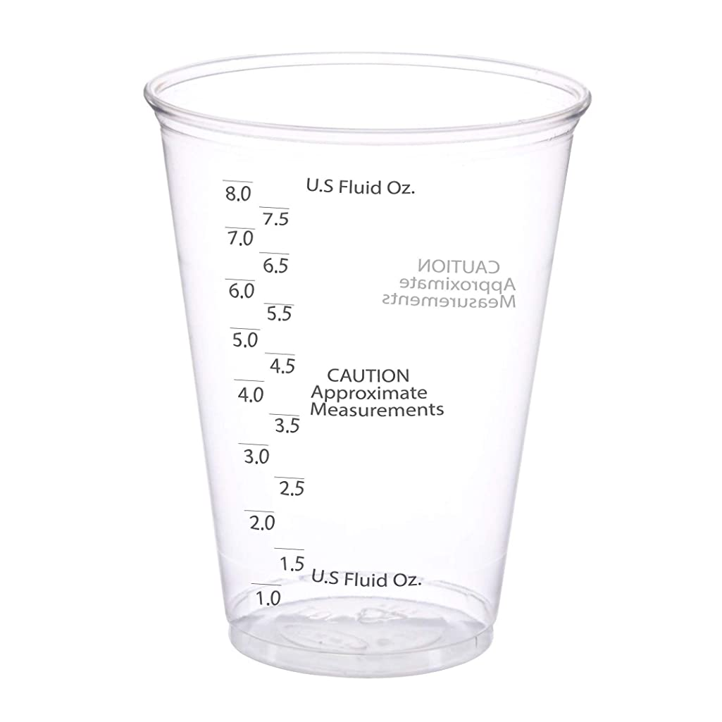 50 Pack - 10 oz. Size - Clear Plastic Mixing Measuring Cups - Best Value - Graduated Mixing - for Resin, Epoxy, Stain, Pour Art, Paint - Disposable Pack