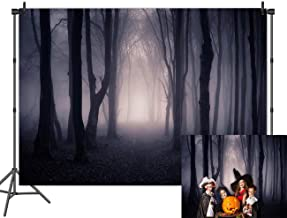Dark Misty Woods Halloween Theme Party Photography Backdrops Magic Grove Vampire Evil Scary Gloomy Forest Bare Trees Photo Background Studio Props Cake Table Banner Vinyl 7x5ft