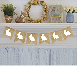 Partyprops Rabbit Burlap Garland | Bunny Burlap Garland | Rustic Easter Decorations | White Rabbits Banner