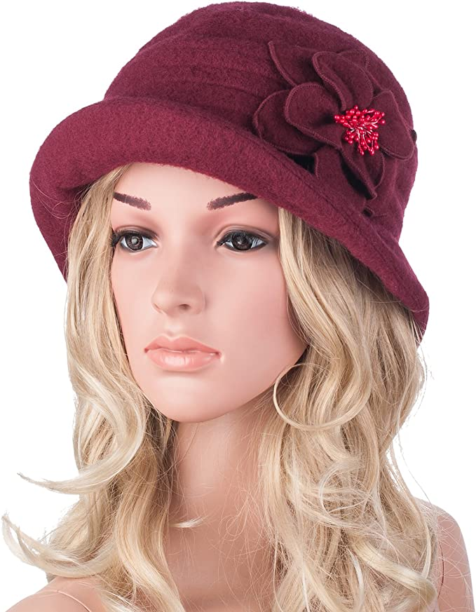 1920s Hat Styles for Women – History Beyond the Cloche Hat Women Elegant Classic Ladies Soft Wool Cloche Bucket Floral Winter Cap Hat A299 £15.99 AT vintagedancer.com
