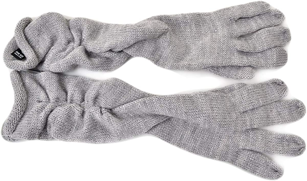 INC International Concepts Women's Black Ruched Long Gloves Grey