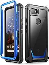 Google Pixel 3a XL Rugged Clear Case, Poetic Full-Body Hybrid Shockproof Bumper Cover, Built-in-Screen Protector, Guardian Series, Case for Google Pixel 3a XL (2019 Release), Blue/Clear
