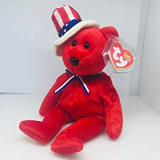 Ty Beanie Babies Sam July 4, 2003 with Swing tag/Cover & Plastic Box.