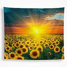 VAKADO Sunflower Tapestry Wall Hanging Golden Yellow Sunset Flower Ocean Under The Sunshine Nature Scene Picture Wall Art Decor Blanket for Bedroom Livingroom Dorm 59x82.6 Inch