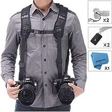 Double Shoulder Camera Strap Harness Quick Release Adjustable Dual Camera Tether Strap and Safety Tether for DSLR SLR Camera