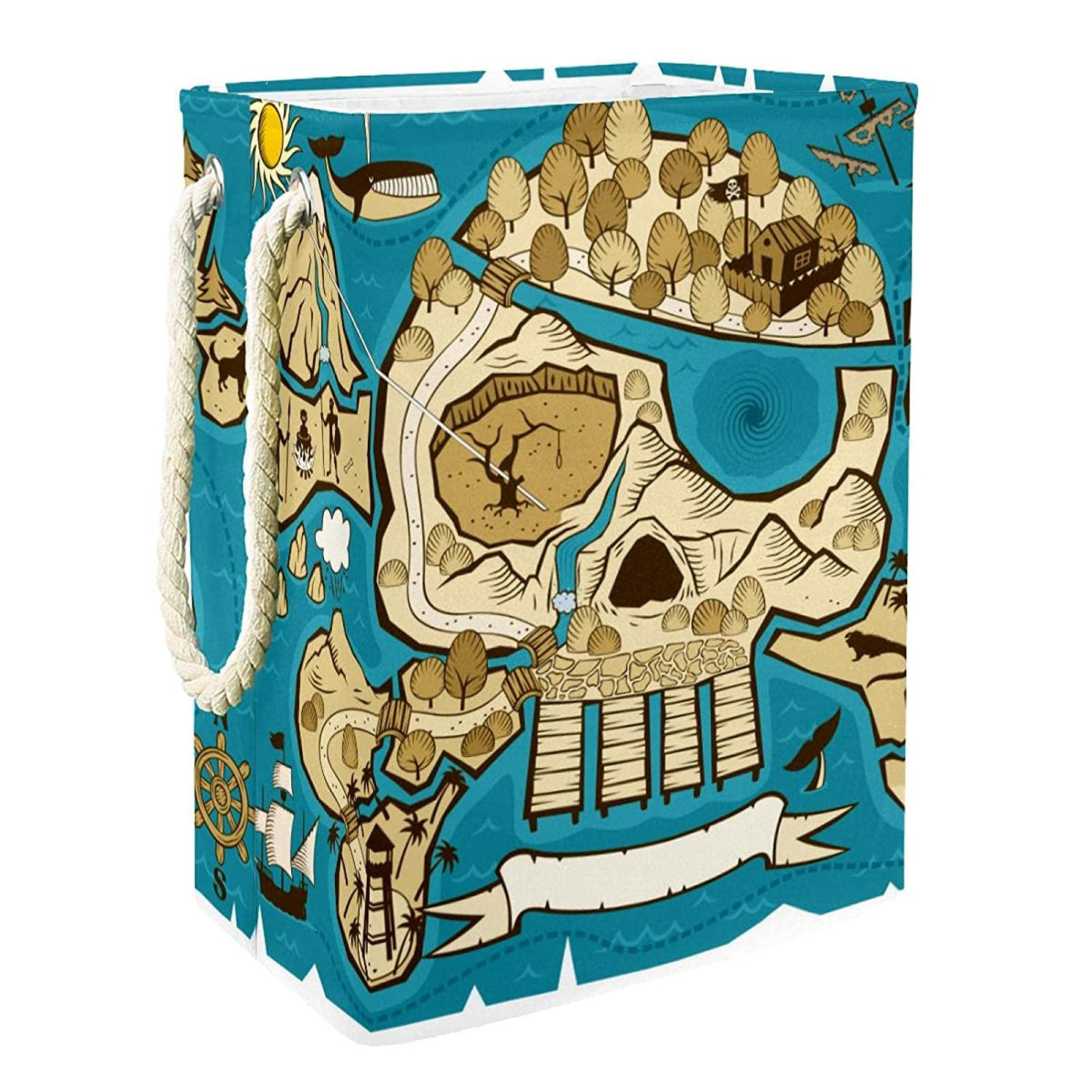 Shipping included Laundry Hamper Pirate Skull New sales Compass Storage Self-Standing Box Wa