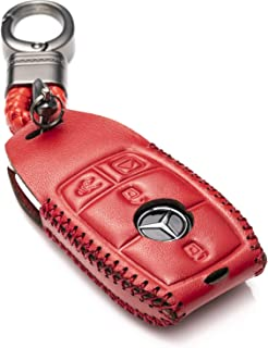Vitodeco Genuine Leather Smart Key Fob Case Cover Protector with Leather Key Chain for 2017-2020 Mercedes-Benz E-Class, 2018-2020 Mercedes-Benz S-Class (4-Button, Red)