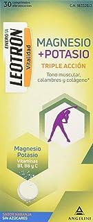 LEOTRON Magnesio y Potasio - 30 Comprimidos - Complemento alimenticio con magnesio. potasio. vitaminas B1. B6 y C. con edulcorantes. Agradable sabor a naranja (1835260)