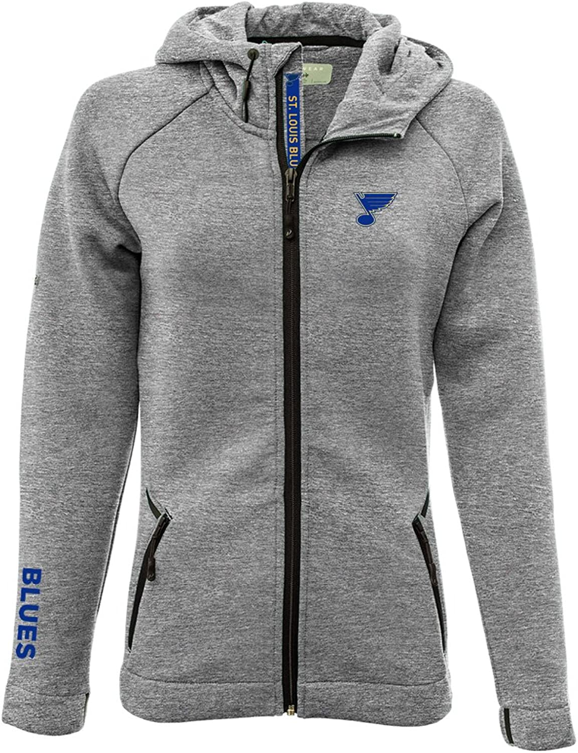 Levelwear LEY9R Women's Motion Insignia Bold Full Zip Hooded Jacket, Heather Pebble, Small