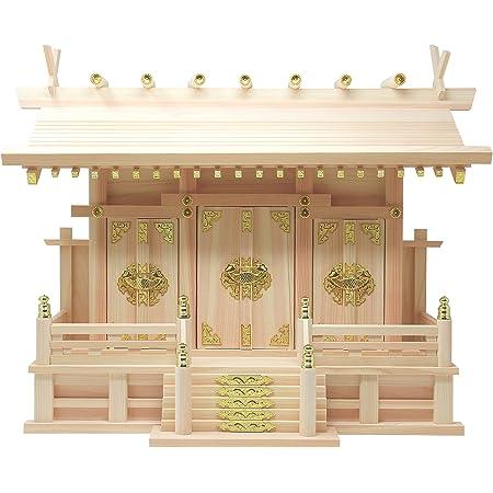 松山神仏具店 神棚 通し屋根三社 雲シール付 日本製 国産桧 幅54cm 高40cm 奥21.5cm