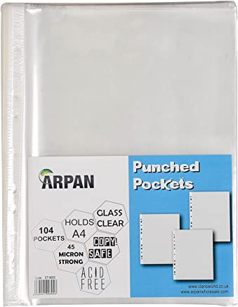 Punched Pocket A4 Strong 45 Micron Transparent Poly Wallets Glass Clear 104 Sheet Protector