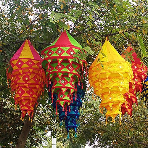 5pieace Laterne Dekorationen Geburtstag Party Dekoration klappbar Bohemian Lampen Dekorative indischen ethnischen Tempel Kronleuchter Lampenschirme
