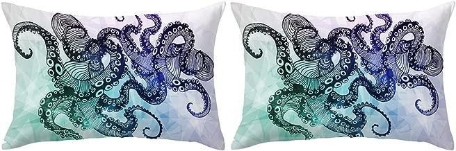 ARIGHTEX Octopus Pillow Cover 3D Sea Creature Pillow Cases for Kids Set of 2 Octopus Feet Pattern Pillow Shams (Dark Geometric Octopus, King 20 x 36)