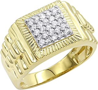 Mens 10K Rose, White or Yellow Gold Diamond Band Pinky Ring 0.5ctw by Luxurman