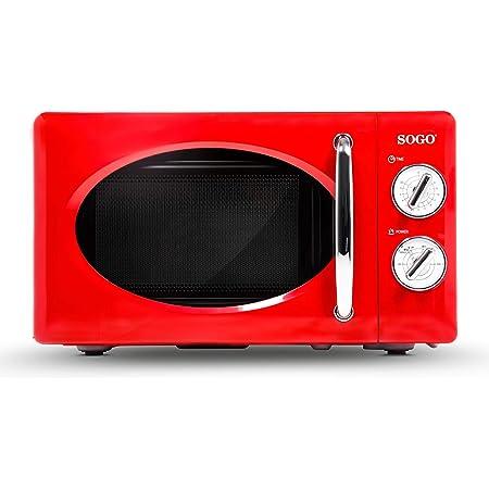 SOGO HOR-SS-890-R SS-890-R-Micro-ondes style rétro, micro ondes vintage avec capacité, 5 puissances, Watts-Color rouge, 700 W, 20 litres, aluminium