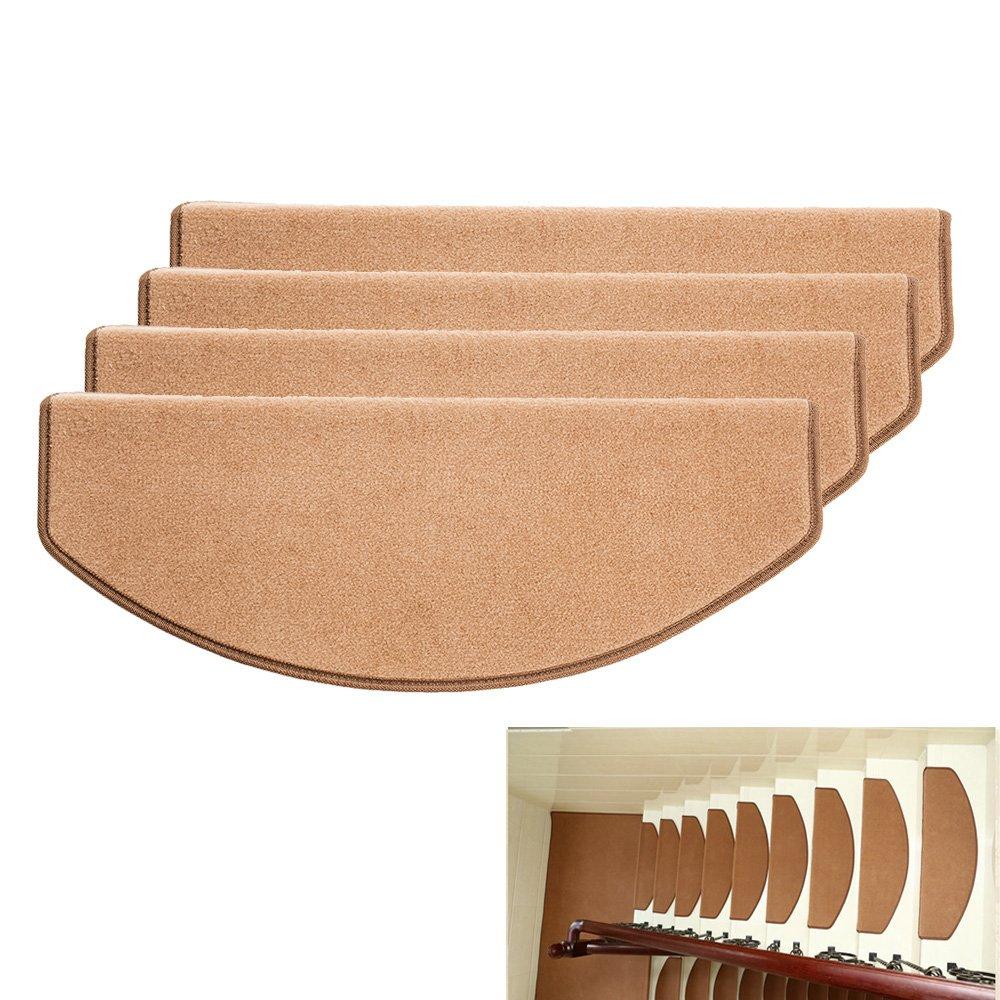 New_Soul 15 Piezas Alfombrillas para Escaleras Juego de Alfombrillas Semicirculares de Escalera Alfombras de Escalera Alfombra Cubierta Pasos Base Antideslizantes Mascotas Perros Gatos Marrón Gris Café 65x24cm (camello): Amazon.es: Hogar