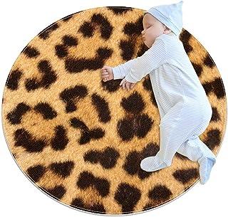 Leopardhud, barn rund matta polyester filt matta mjuk pedagogisk tvättbar matta barnkammare tipi tält lekmatta
