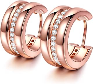 NINASUN Mother's Day Gifts for Her Always with You Rose Gold Earrings 925 Sterling Silver Aaa CZ Earrings Fine Jewelry Show Your Sparkles Hypoallergenic Material with Gift Box