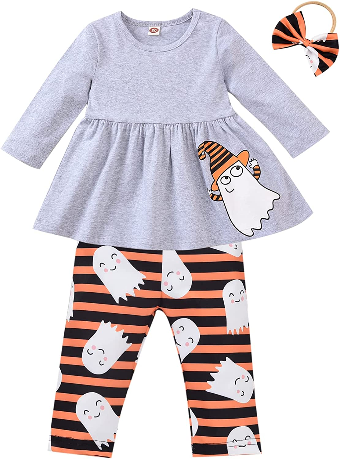 3PCS Baby Girls Halloween Outfits Pumpkin Tops Ghost Leggings Pants with Scarf Hat Clothes Set